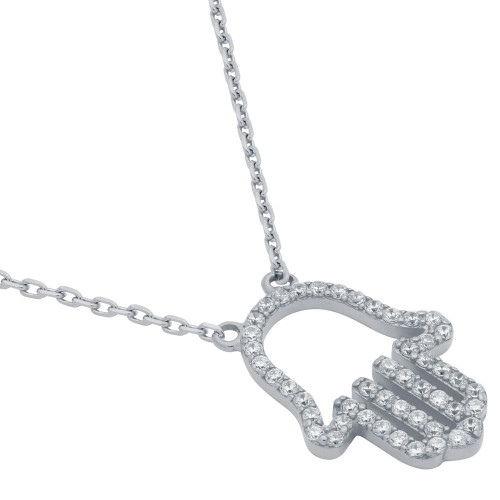 "RHODIUM PLATED CZ PAVE HAMSA OUTLINE NECKLACE 16"" + 2"""
