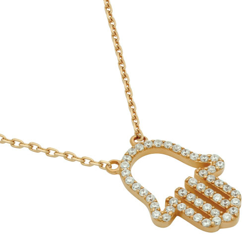 "ROSE GOLD PLATED CZ PAVE HAMSA OUTLINE NECKLACE 16"" + 2"""