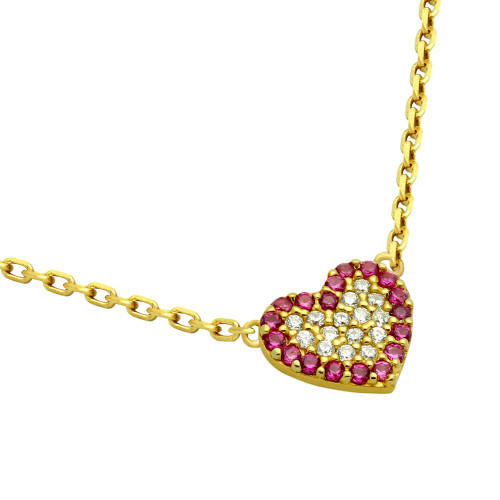 "GOLD PLATED CZ HEART WITH PINK OUTLINE NECKLACE 16"" + 2"""
