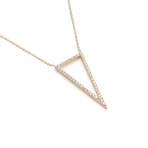 "ROSE GOLD PLATED CZ TRIANGLE OUTLINE NECKLACE 16"" + 2"