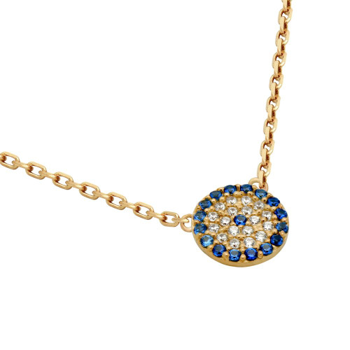 "ROSE GOLD PLATED BLUE EYE CZ PAVE NECKLACE 16"" + 2"""