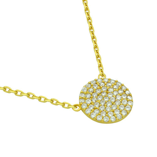 "GOLD PLATED 12MM CZ PAVE DISK NECKLACE 16"" + 2"""