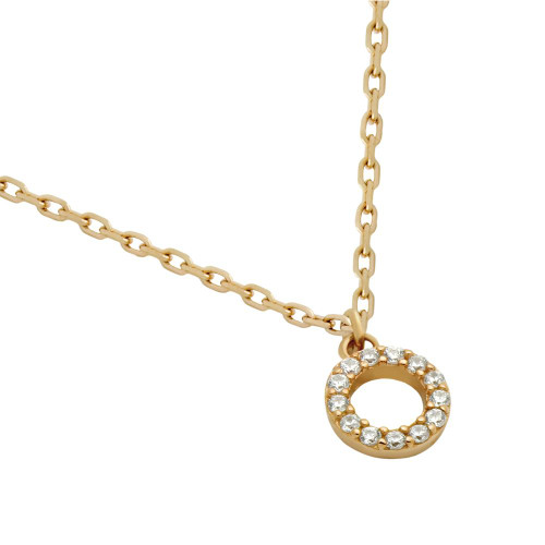 "ROSE GOLD PLATED 7MM DIAMETER CZ ETERNITY CIRCLE NECKLACE 16"" + 2"""