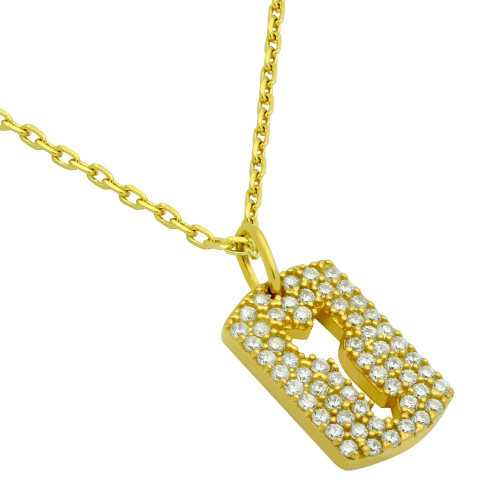 "GOLD PLATED CZ PAVE TAG NECKLACE WITH CUTOUT ARROW 16"" + 2"""