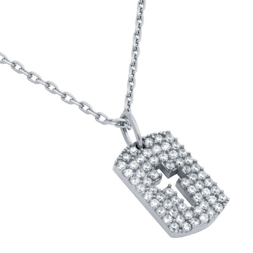 "RHODIUM PLATED CZ PAVE TAG NECKLACE WITH CUTOUT CROSS 16"" + 2"""