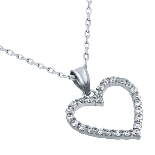 "RHODIUM PLATED 17MM CZ OUTLINE HEART NECKLACE 16"" + 2"""