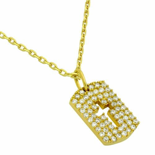 "GOLD PLATED CZ PAVE TAG NECKLACE WITH CUTOUT CROSS 16"" + 2"""