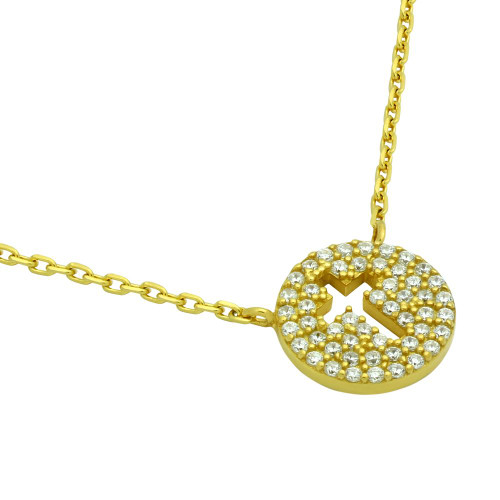 "GOLD PLATED CZ PAVE DISK NECKLACE WITH CUTOUT CROSS 16"" + 2"""