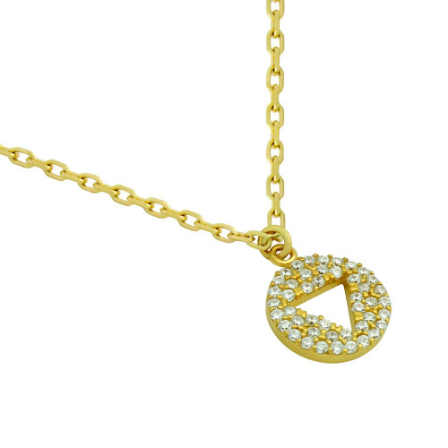 "GOLD PLATED CZ DISK NECKLACE WITH CUTOUT TRIANGLE 16"" + 2"""