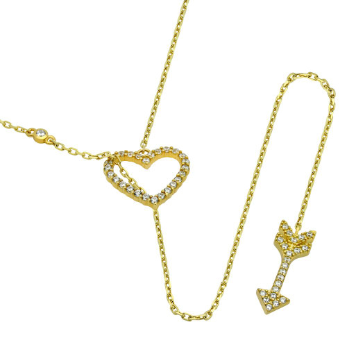 GOLD PLATED CZ HEART AND ARROW LARIAT NECKLACE 22""