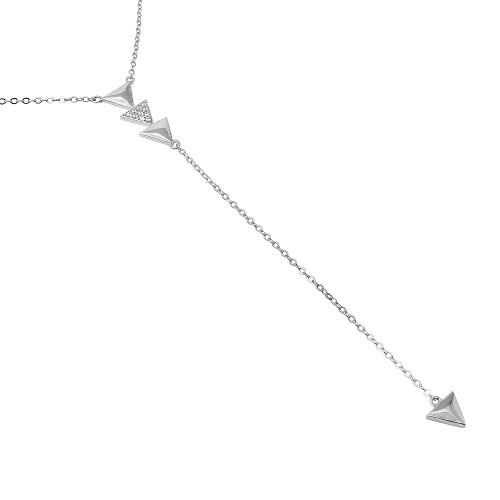"RHODIUM PLATED CZ TRIANGLES ""Y"" NECKLACE 16"" + 2"