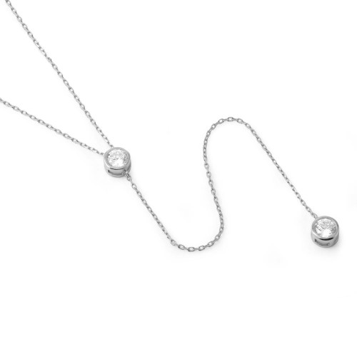 "RHODIUM PLATED CZ BEZEL DUO ""Y"" NECKLACE 16"" + 2"