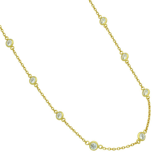 GOLD PLATED 4MM BEZEL CZ BY THE YARD NECKLACE 30""