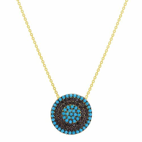 "GOLD PLATED 16MM ROUND TURQUOISE EVIL EYE NECKLACE 16"" +2"""
