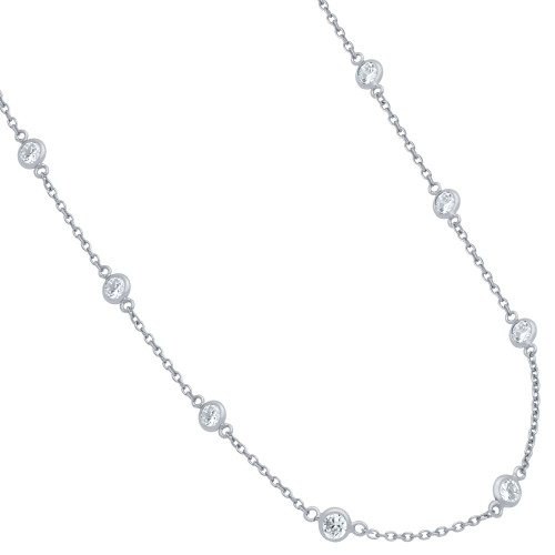 4MM BEZEL CZ BY THE YARD NECKLACE 30""