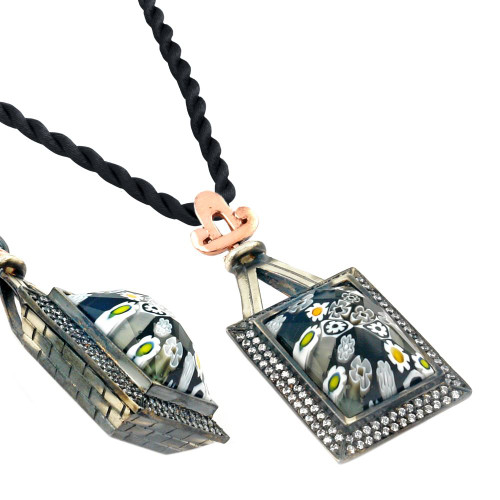 "SIGNATURE COLLECTION FACETED BLK/WHT MURANO GLASS RECTANGLE NECKLACE W/ COPPER AND SIGNITY CZS 17""+2"