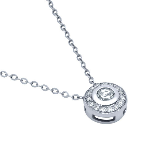 RHODIUM PLATED ELEGANT ROUND CZ NECKLACE 18""