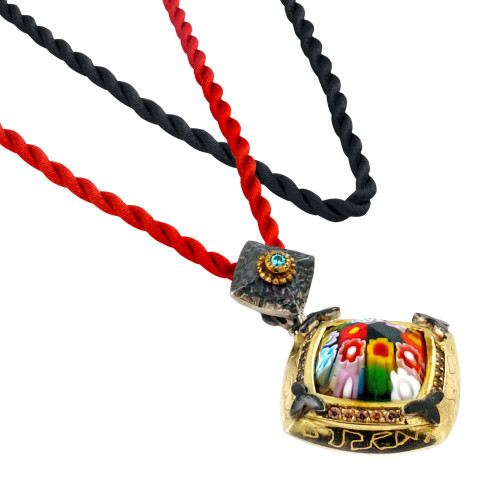 "SIGNATURE COLLECTION SMALL FACETED MLT MURANO GLASS SQUARE NECKLACE WITH SIGNITY CZS 17""+2"""