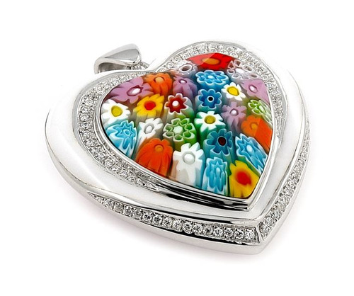 MILLACRELI FACETED MULTI COLOR HEART PENDANT WITH CZS