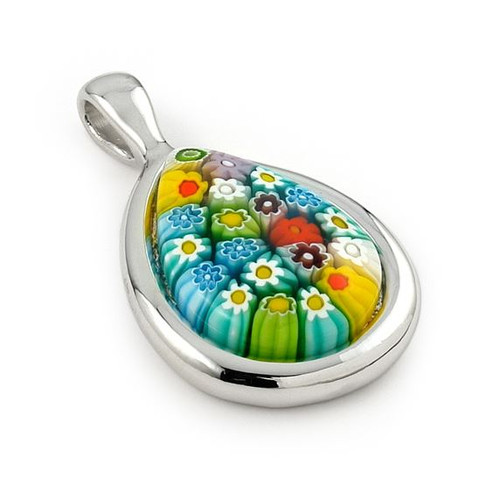 MURANO MILLEFIORI MULTICOLOR DROP PENDANT WITH SILVER FRAME