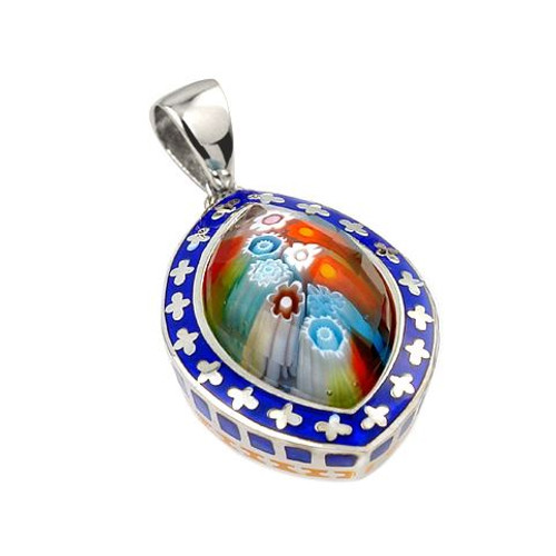 EXQUISITE COLLECTION SMALL FACETED MULTI COLOR MURANO GLASS MARQUISE PENDANT