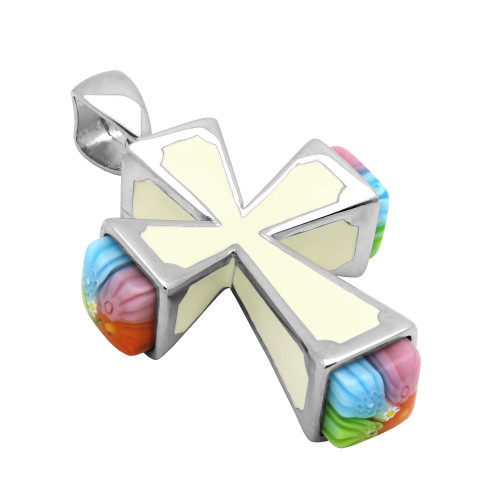 MULTICOLOR MURANO MILLEFIORI CROSS PENDANT SQUARE SHAPE ENDS