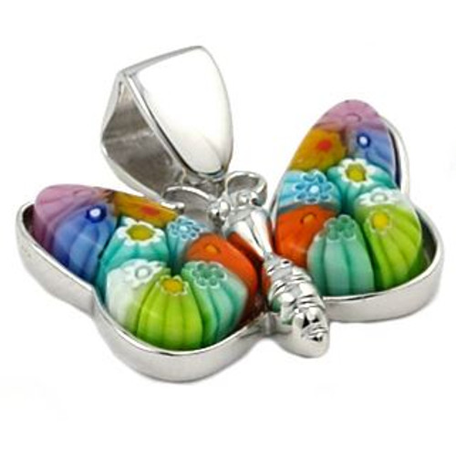 MULTICOLOR BUTTERFLY MURANO MILLEFIORI ANIMAL PENDANT