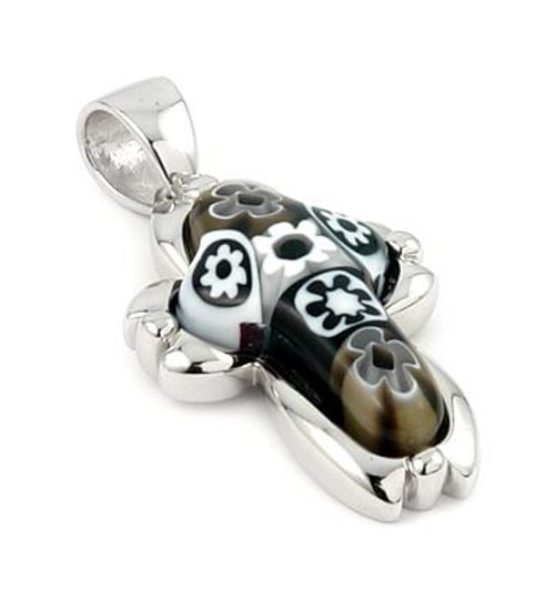 BLACK AND WHITE MURANO MILLEFIORI SMALL CROSS PENDANT