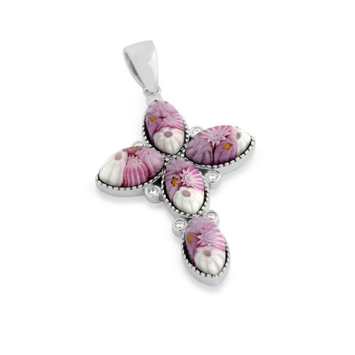 PINK MURANO MILLEFIORI MARQUISE CROSS PENDANT WITH CZ ACCENTS