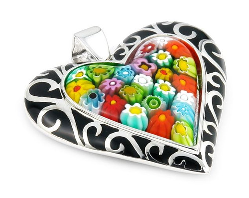 BLACK AND MULTI COLOR MILLACRELI HEART PENDANT