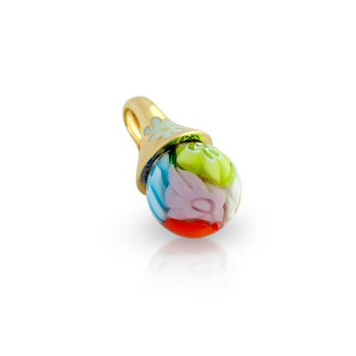GOLD PLATED ROUND MULTICOLOR MURANO MILLEFIORI BALL PENDANT
