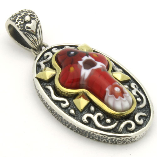 RED MURANO MILLEFIORI ORNATE OVAL CROSS PENDANT