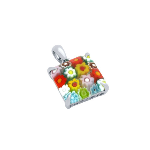 MULTICOLOR MURANO MILLEFIORI 13MM SQUARE PENDANT
