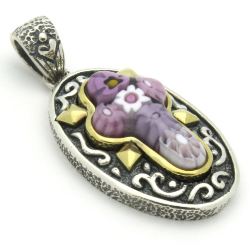 PINK MURANO MILLEFIORI ORNATE OVAL CROSS PENDANT
