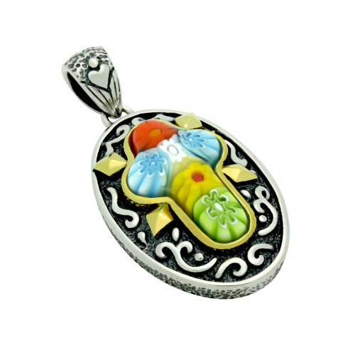 MULTICOLOR MURANO MILLEFIORI ORNATE OVAL CROSS PENDANT
