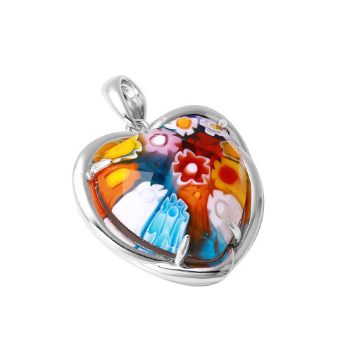 MULTICOLOR MURANO MILLEFIORI 23X23MM HEART PENDANT