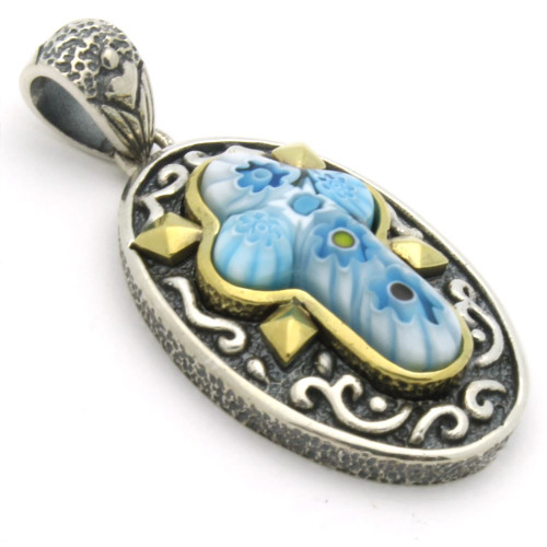 LIGHT BLUE MURANO MILLEFIORI ORNATE OVAL CROSS PENDANT