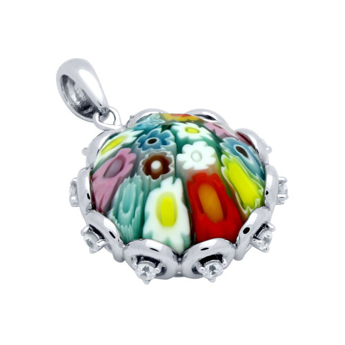 MULTICOLOR MURANO MILLEFIORI ROUND FACETED PENDANT WITH CZ
