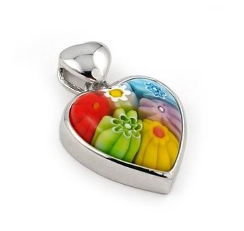 MULTICOLOR MURANO MILLEFIORI 21x16MM HEART PENDANT