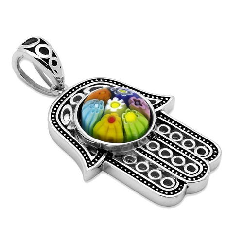 MULTICOLOR MURANO MILLEFIORI ROUND CENTER ON MILGRAIN HAMSA PENDANT