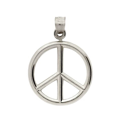 RHODIUM PLATED PEACE SIGN PENDANT
