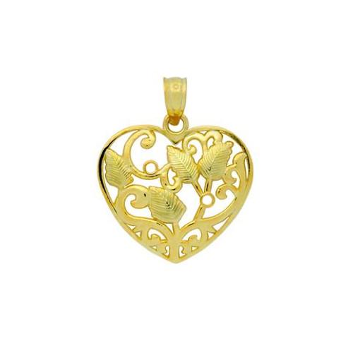 GOLD PLATED HIGH POLISHED FLORAL DESIGN HEART PENDANT