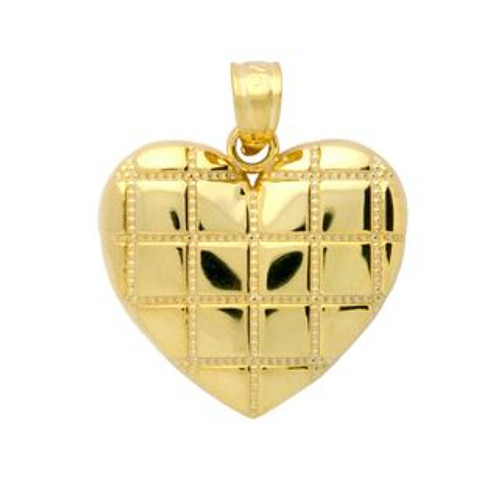 GOLD PLATED STERLING SILVER CROSSHATCH DESIGN HEART PENDANT