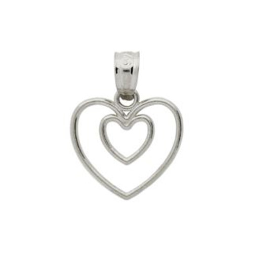 RHODIUM PLATED STERLING SILVER HEART IN A HEART PENDANT