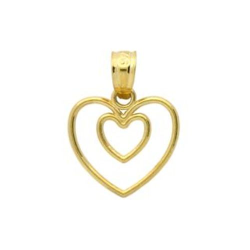 GOLD PLATED STERLING SILVER HEART IN A HEART PENDANT