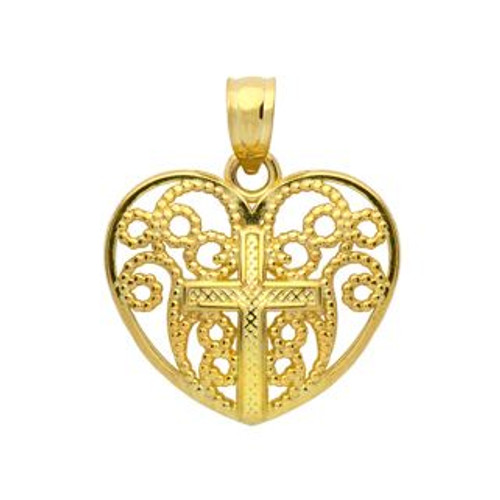 GOLD PLATED STERLING SILVER CROSS IN A HEART PENDANT