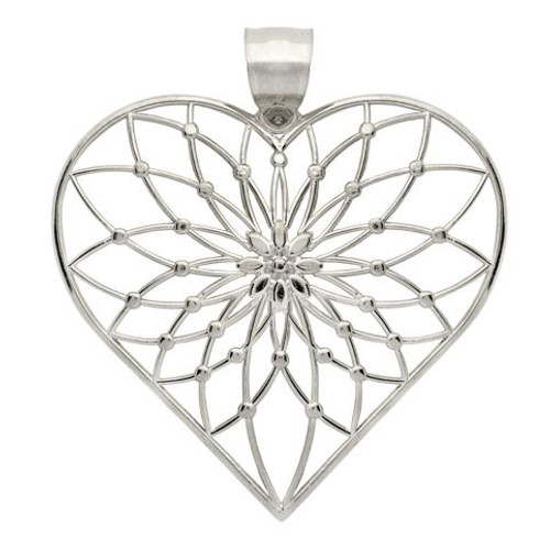 RHODIUM PLATED STERLING SILVER LARGE FLORAL DESIGN HEART PENDANT