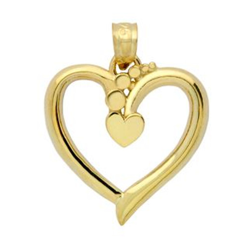 GOLD PLATED STERLING SILVER HEART IN A FLOATING HEART PENDANT