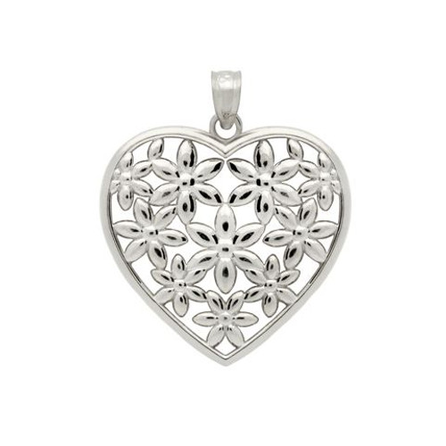 RHODIUM PLATED STERLING SILVER FLOWERS IN A HEART PENDANT