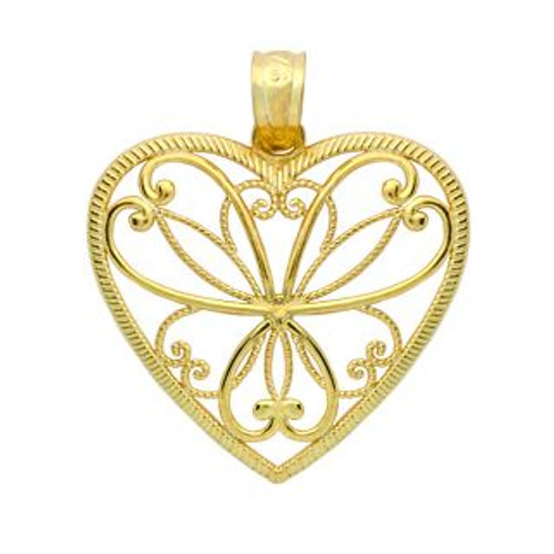 GOLD PLATED SMALL HEART BRANCHES HEART PENDANT